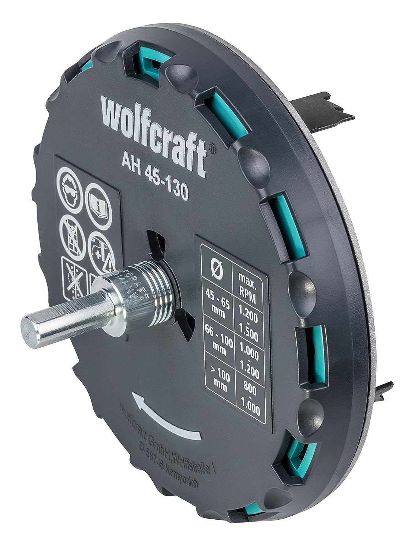 Gris//argent//noir di/ámetro de 45-90 mm Wolfcraft 5977000 Sierra de corona ajustable