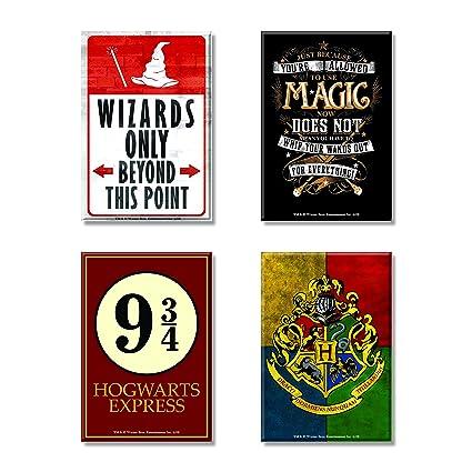 Mc Sid Razz Harry Potter Combo Pack Of 4 Rectangular Fridge Magnet Hogwarts 9 3