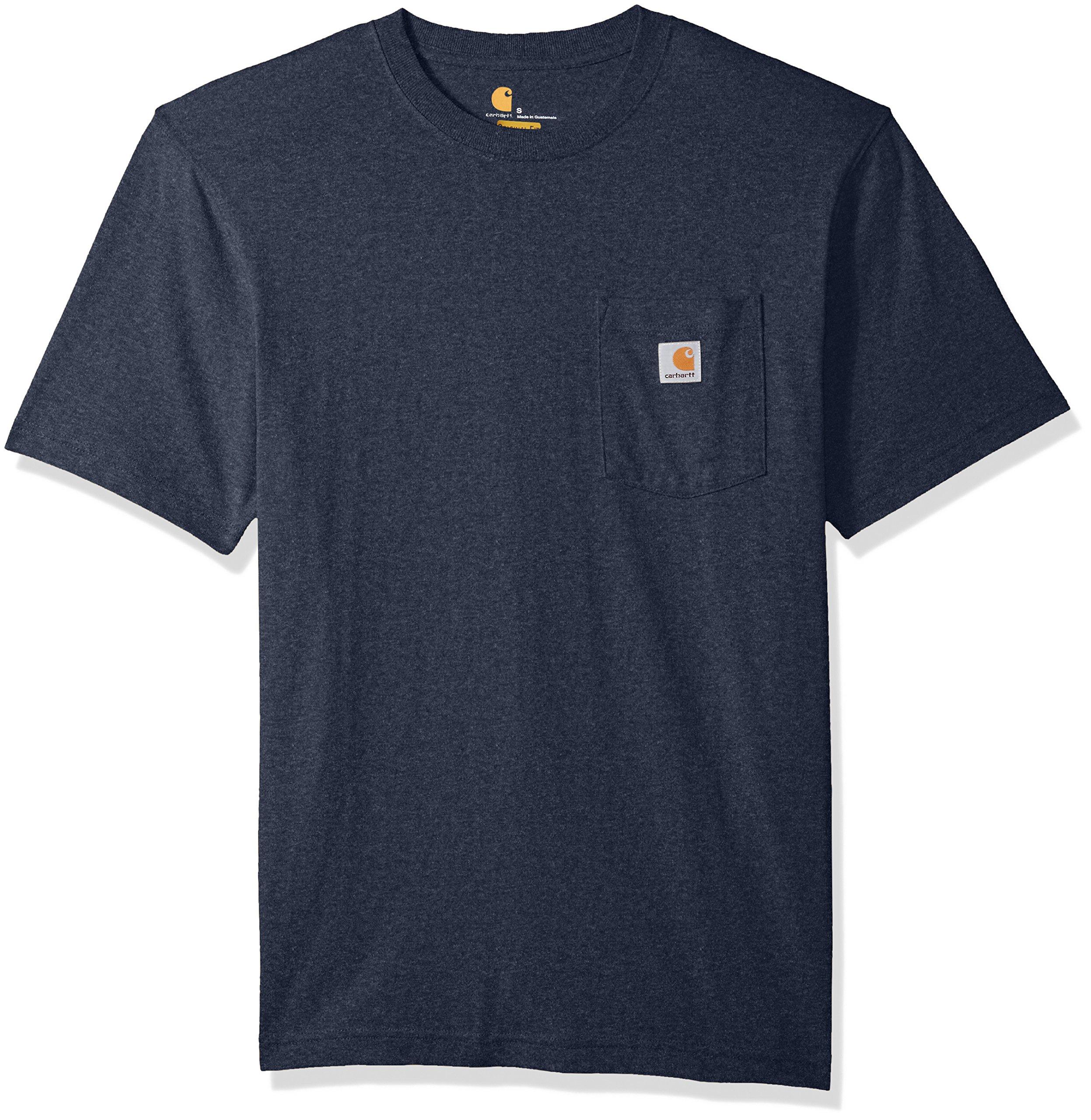 Carhartt Men's Workwear Short Sleeve T-Shirt in Original Fit K87, Navy Heather, X-Large