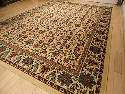Large 8u0027x11u0027 Traditional Cream Rugs Floral Area Rugs Persian Isfahan 8x10  Rug Dining