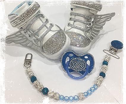 Luxus Set de regalo con nombres, Chupete, zapatos de strass, cadena ...