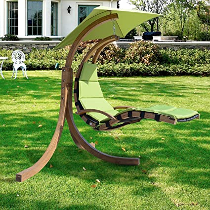 Free Standing Hammock Chaise Lounge Chair Swing Helicopter Outdoor Green  Wooden Hammock Seat Swings Heavy Duty