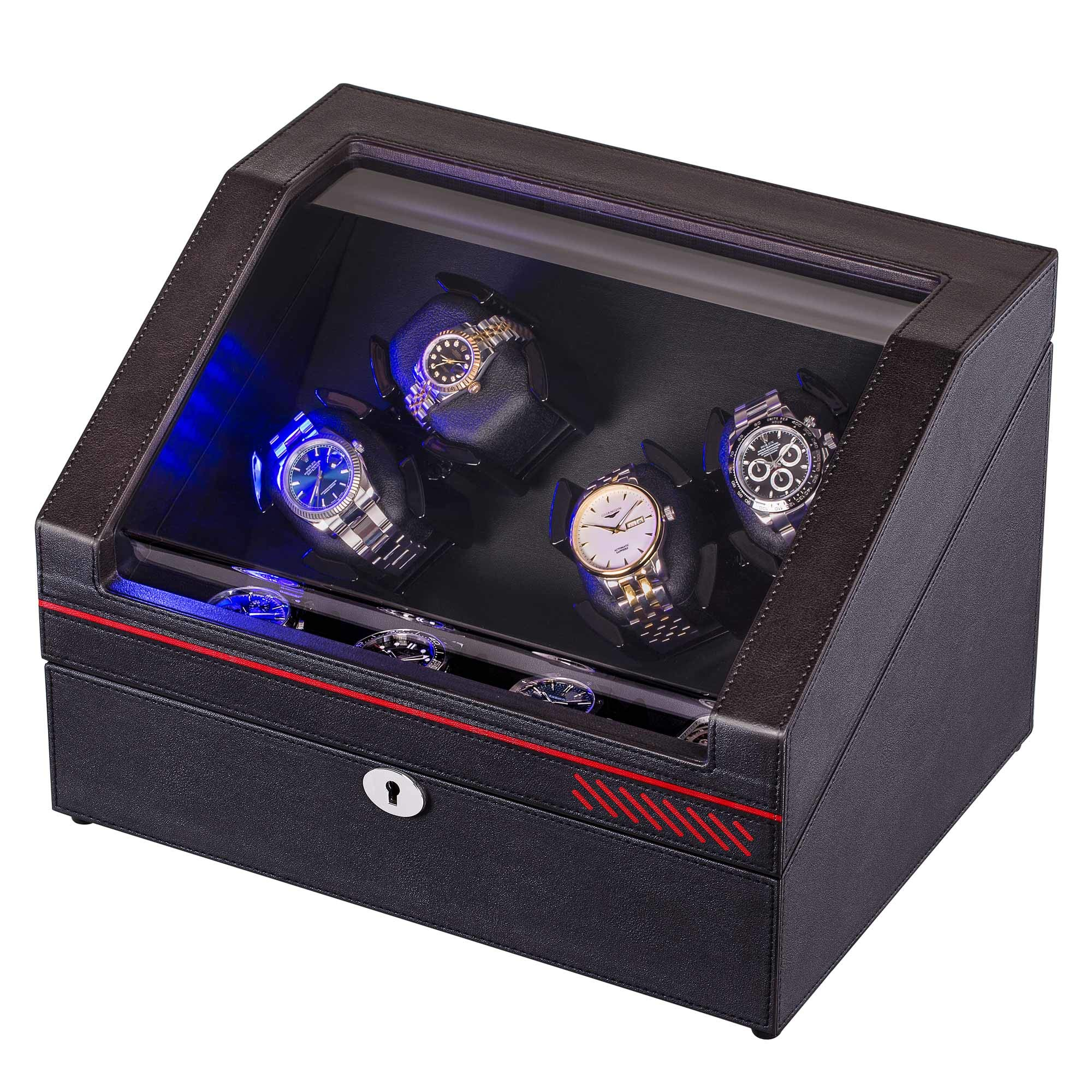 Watch Winders, Automatic Watch Winder Box for Rolex Watches, 4+4 Watch Storages Case Built-in Illumination
