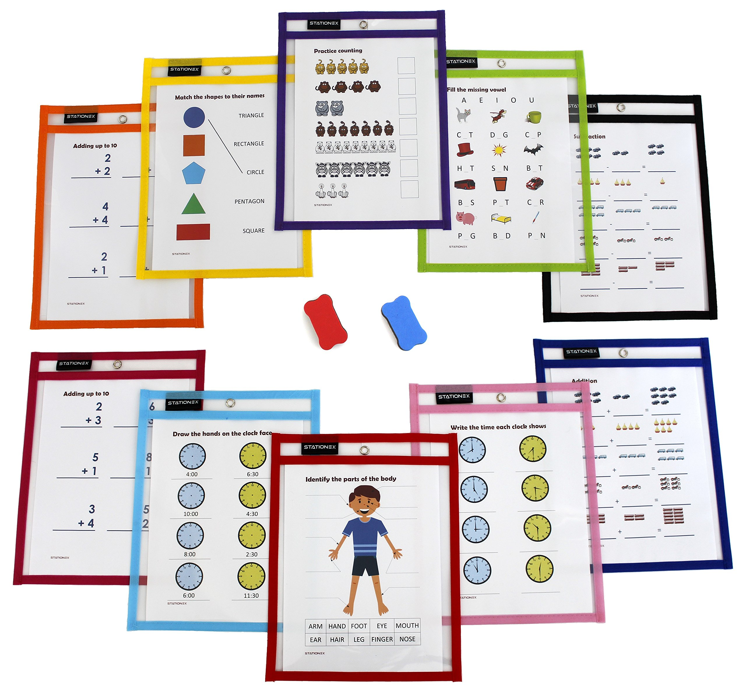 Reusable Dry Erase Pockets, Large Size 10 x 13 Inches, 10 Assorted Color Write and Wipe Off Sleeves + 2 Erasers per Pack - by Stationex