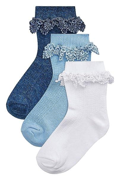 next Niñas Pack De Tres Bonitos Pares De Calcetines Con Volantes (Niña Pequeña) Azul/Blanco EU 35.5-38: Amazon.es: Ropa y accesorios