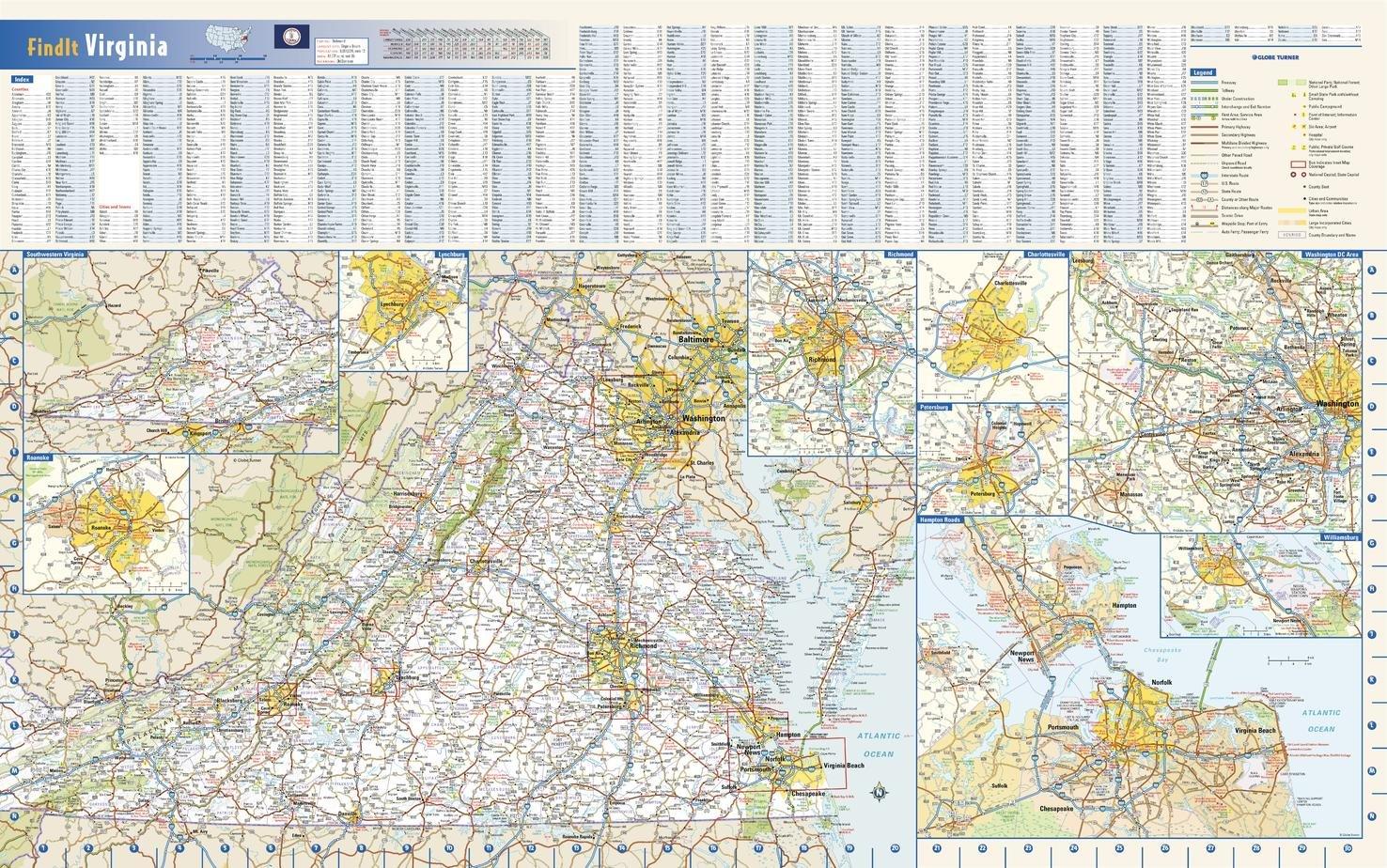 Amazon.com : Virginia State Wall Map - 30.75\