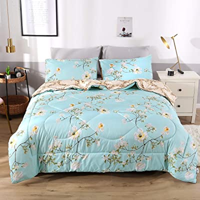 Beddinginn Spring Flower Full Comforter Bedding Sets Winter Warm Twin/Full/Queen Bed Comforter Sets for Women Ladies Girls 3 Pieces Quilt Bedspread Bedding Sets with Pillow Shams,Spring Flower: Home & Kitchen