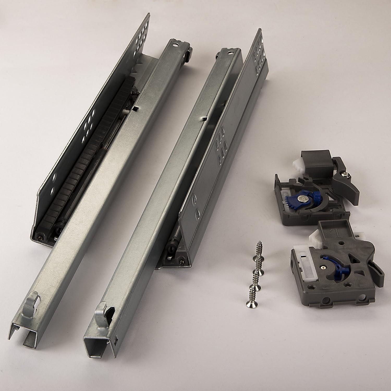 1 par de SO-TECH® 'PartSlide' Carril para Cajón Guía Telescópica 300 mm Extensión parcial para Cajónes de Madera/ con Amortiguación SOTECH