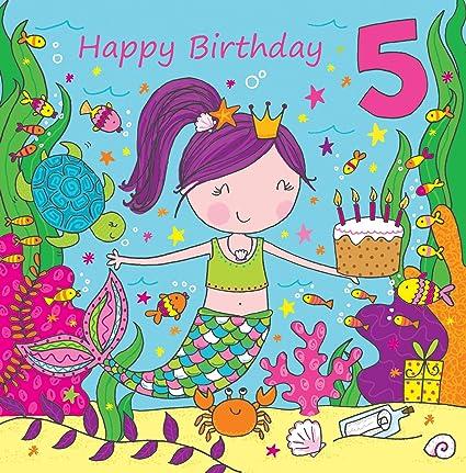 Biglietto di auguri di compleanno per bambina di 5 anni
