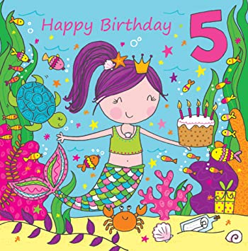 Twizler 5th Birthday Card For Girl With Cute Mermaid Glitter