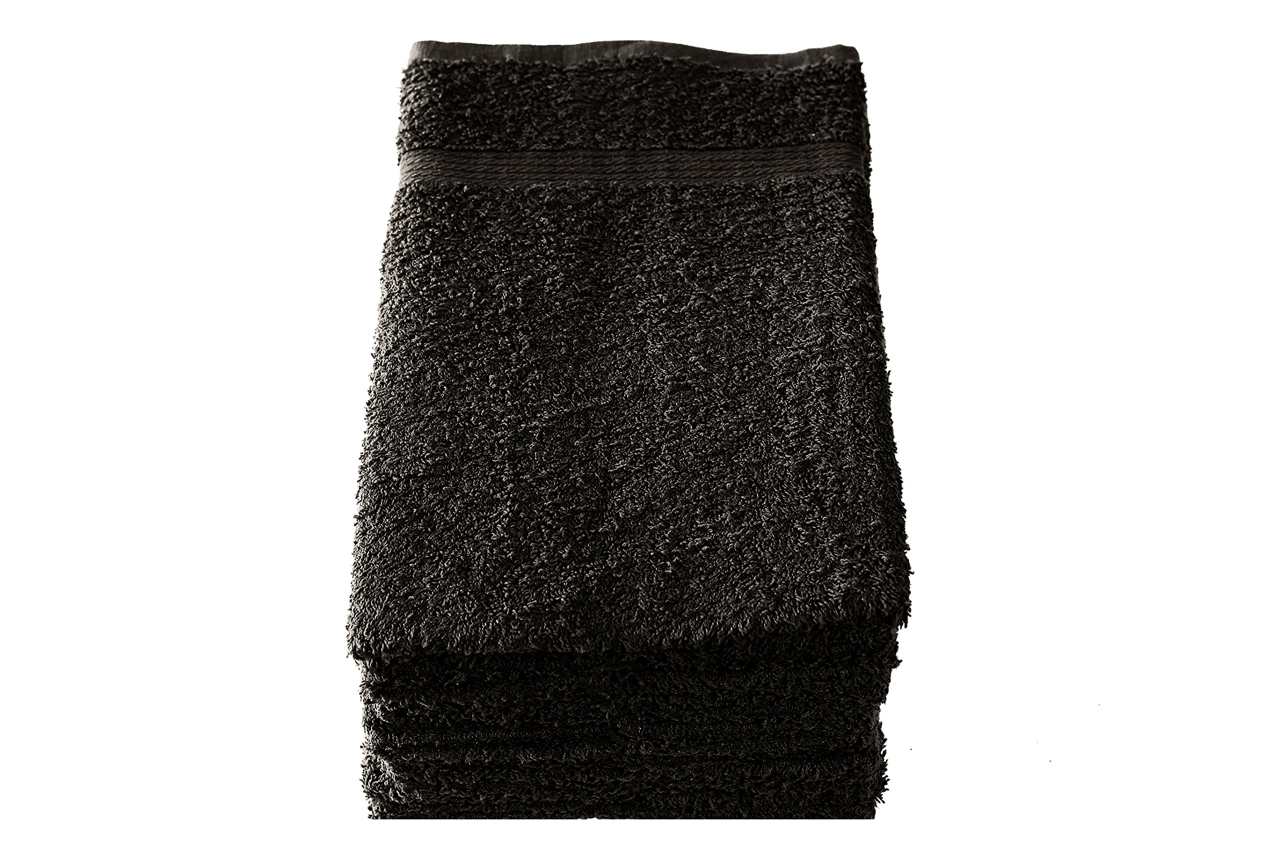 Heritage Linen Cotton Salon Towels - Spa Towels - Gym Towels - Hand Towels (24-Pack, Black, 16x27 inches) - Ringspun Cotton, Soft & Absorbent, Quick Dry by