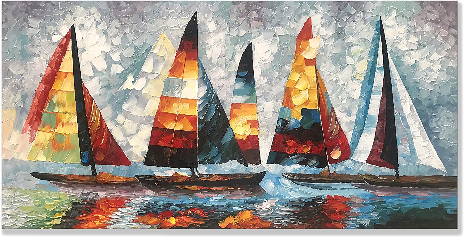 zoinart Hand Painted Oil Painting on Canvas 24x48 inch Modern Canvas Wall Art Abstract Painting Sailboat Artwork Home Decorations for Living Room Bedroom Dining Room Wall Decor Ready to Hang