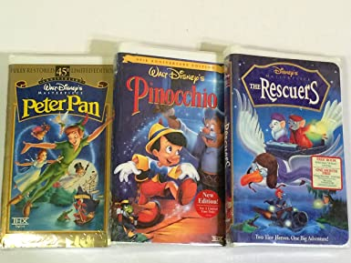 Amazon Com 3 Walt Disney S Vhs Tapes Peter Pan Pinocchio