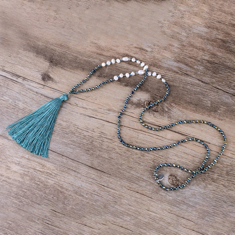 KELITCH New Long Tassel Strands Necklace Pearl Crystal Beaded Necklace Handmade Bib Shining Y-Shape Necklace