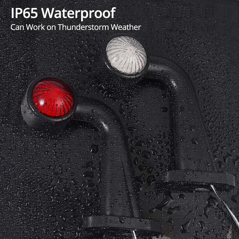 4 LEDs Super Bright LED Marker Lights IP65 Waterproof Trailer Side Lights Long Lifespan White Red with Screws for 12// 24V Trailer Truck Etc LiNKFOR Side Marker Lights E-mark E8 2 PCS 2