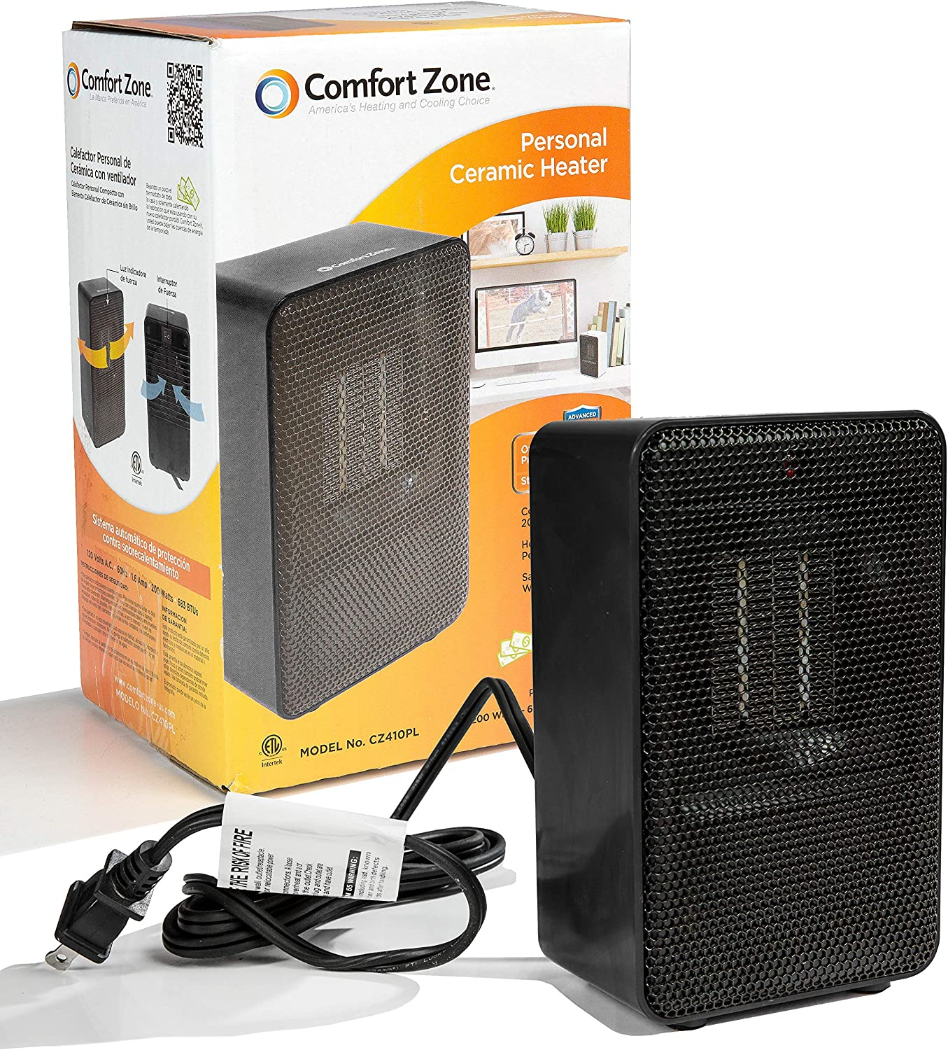 Comfort Zone Personal Ceramic Heater, Black