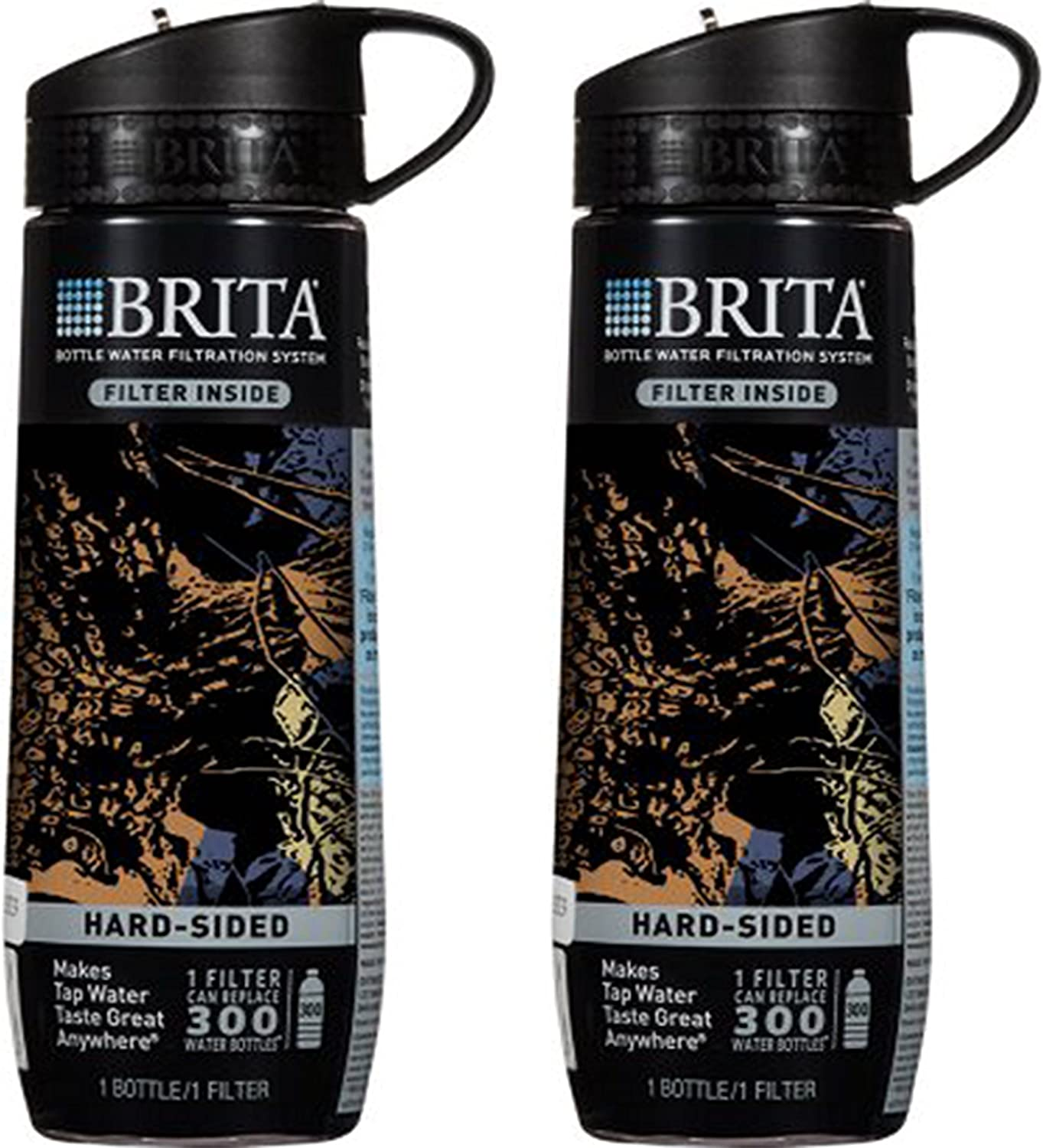 Brita Black Camo Hard Sided Water Bottle With Filter 23.7 Ounce (Pack of 2)