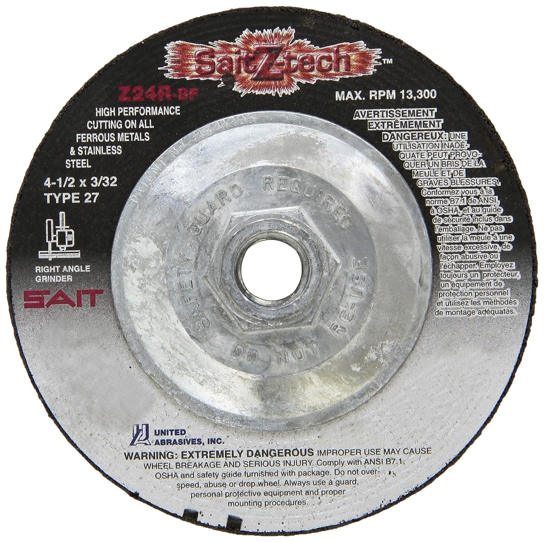 United Abrasives 10-Pack SAIT 22651 Type 27 4-1//2x3//32x5//8-11 Z-Tech Cutting Wheel