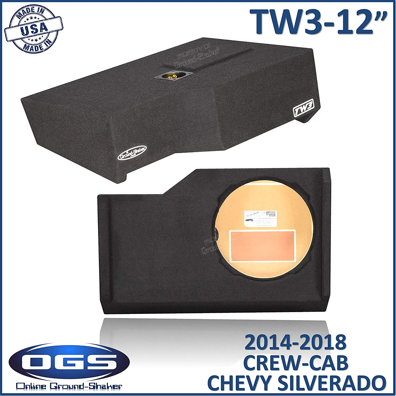 Fits Chevy Silverado /& Gmc Sierra Crew-Cab 2014-2018 12 Single Sealed Box for JL Audio TW3 12