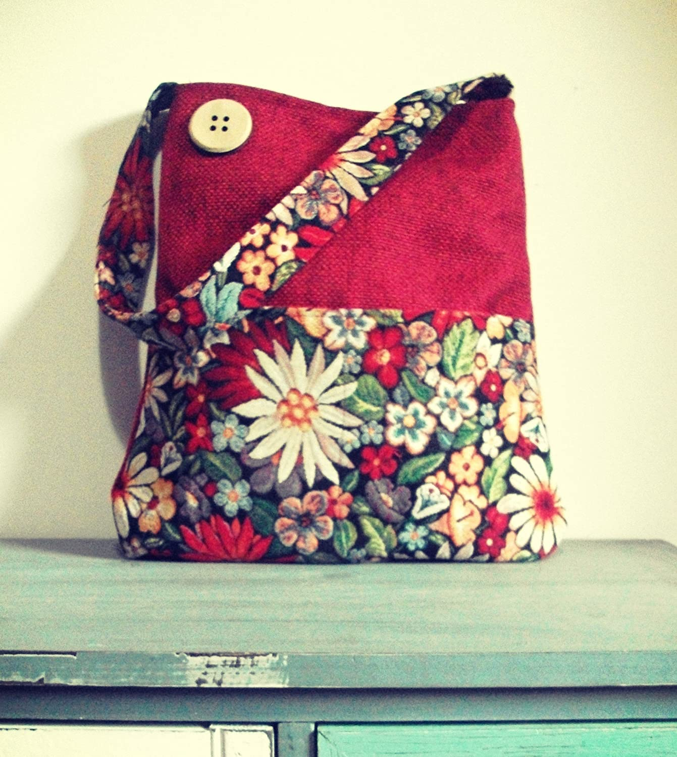 red and multicolour FLORAL Shoulder handbag, Gobelin and tapestry, wood button - handmade in italy