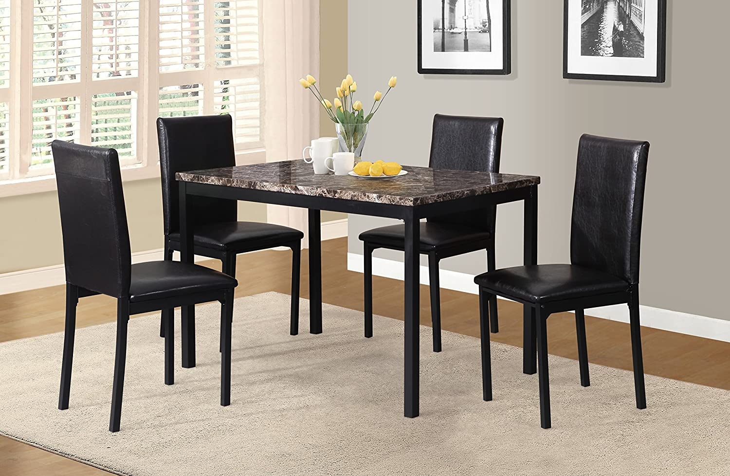 Amazon Com Roundhill Furniture 5 Piece Citico Metal Dinette Set With Laminated Faux Marble Top Black Table Chair Sets