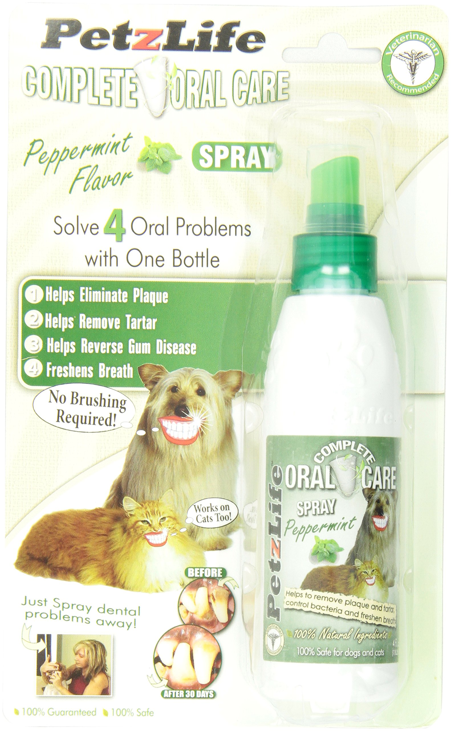 PETZLIFE 891009 Complete Oral Care Spray Peppermint Blister-Package for Pets, 4-Ounce