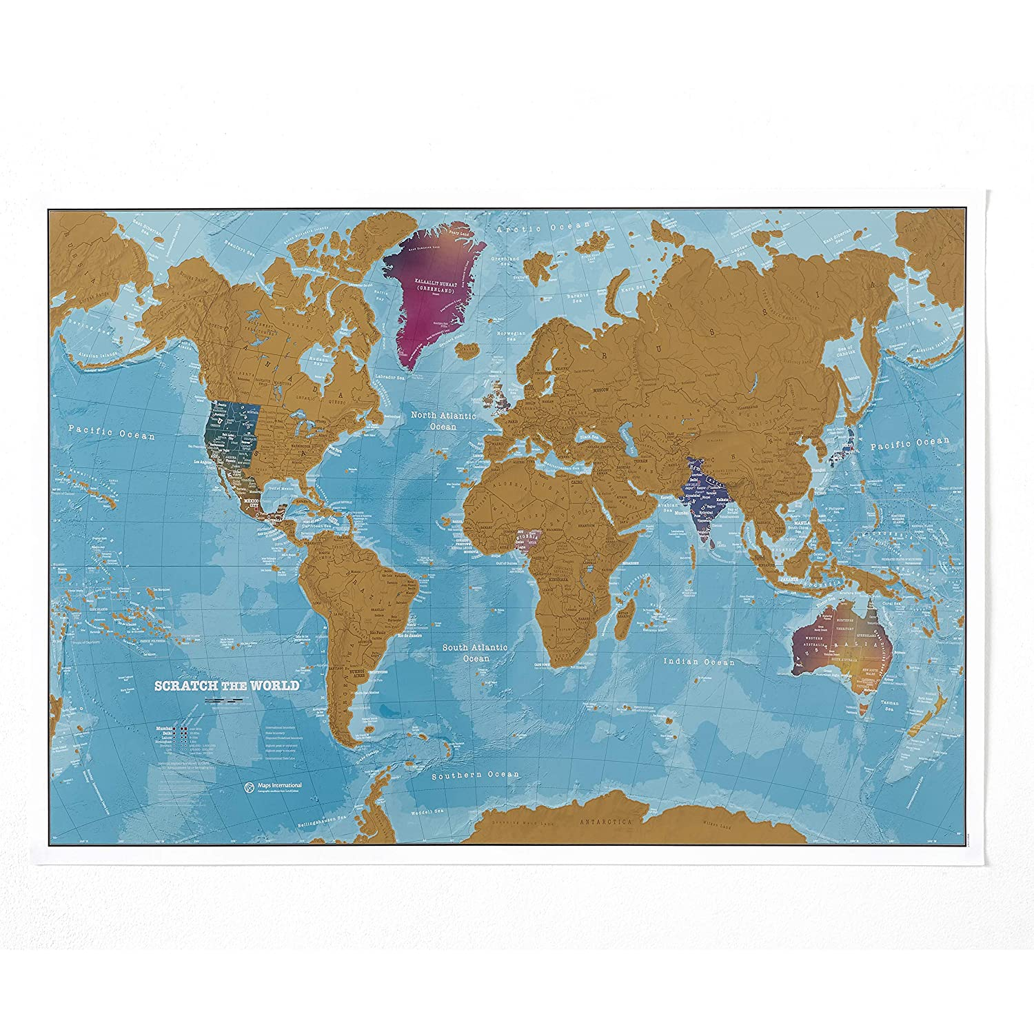 Amazon.com: Maps International Scratch The World Watercolor Map ...