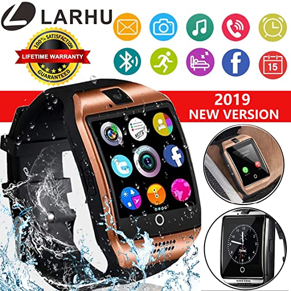 Bluetooth Smart Watch - L LARHU Touch Screen Smartwatch Smart Wrist Watch  Phone Fitness Tracker SIM TF Card Slot Camera Pedometer iOS iPhone Android