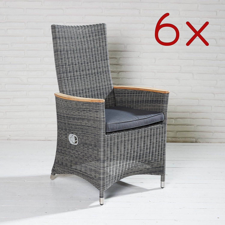 Gartenstühle Poly Rattan Stühle dunkelgrau 6x Gartensessel Terrassenstuhl Teak