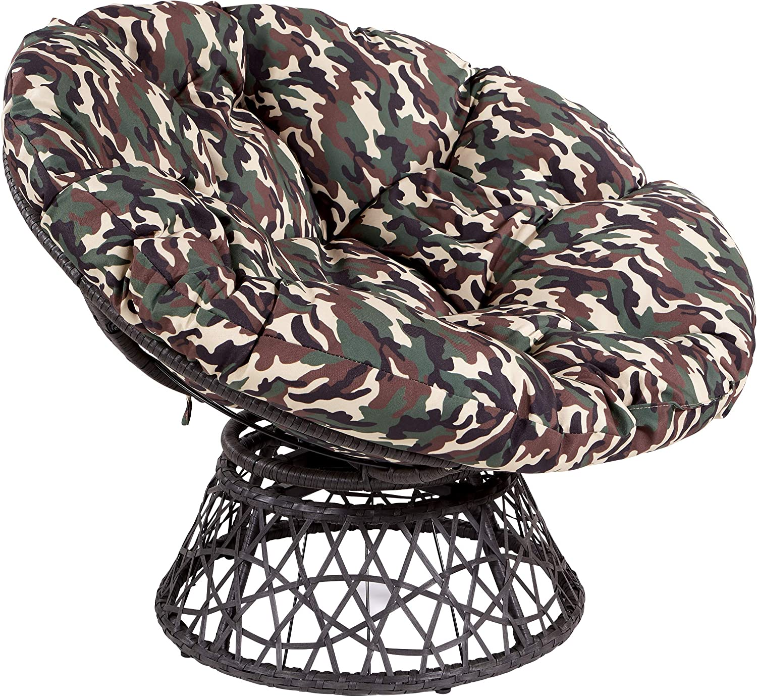 OSP Designs Papasan Chair with 360-degree Swivel, Camo cushion and Black Frame