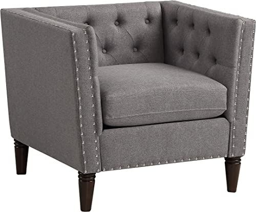 Christies Home Living Tuxedo Accent Chair Button Tufted Nail Head, GREY