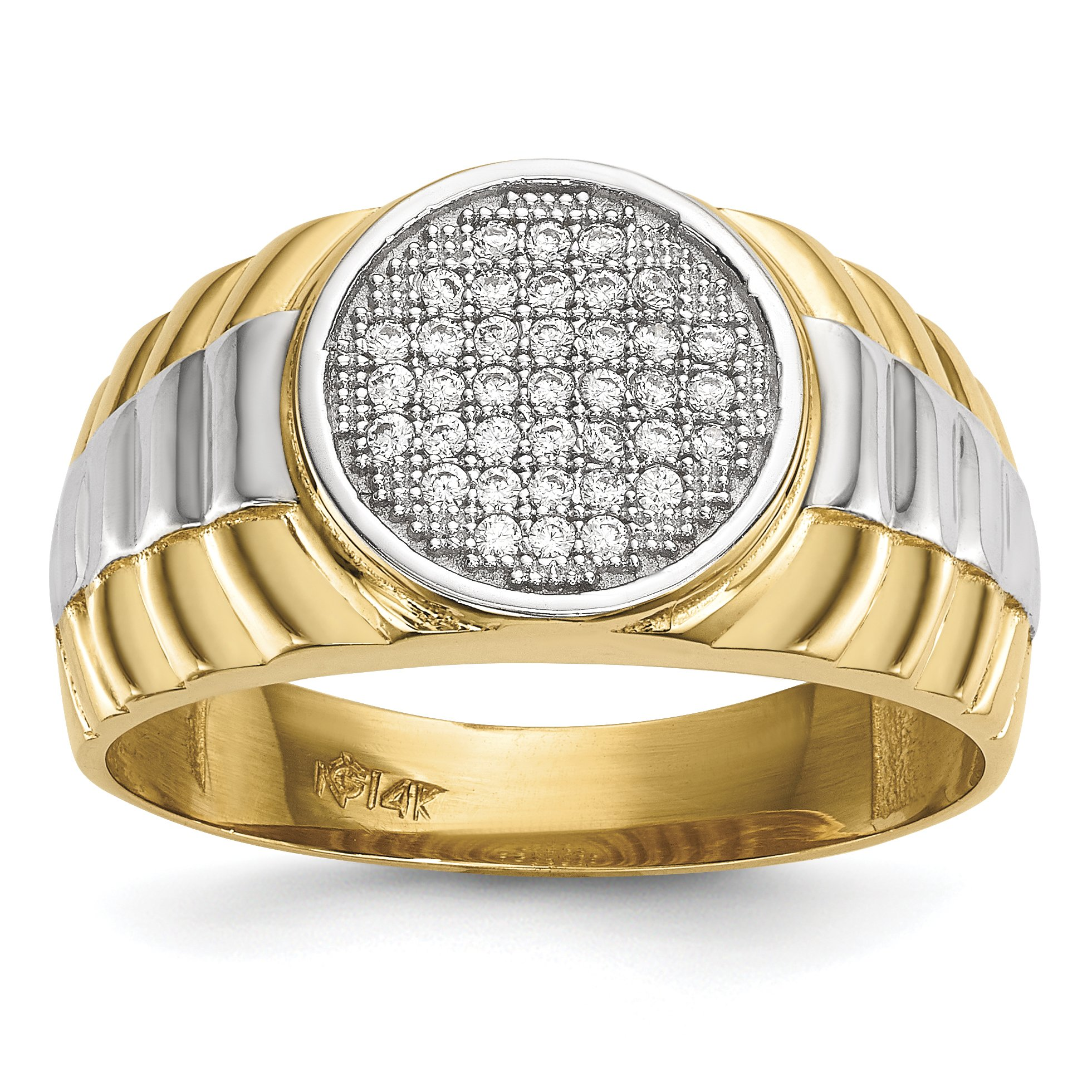 ICE CARATS 14k Yellow Gold Mens Micro Cubic Zirconia Cz Round Band Ring Size 10.00 Signet Fine Jewelry Dad Mens Gift Set