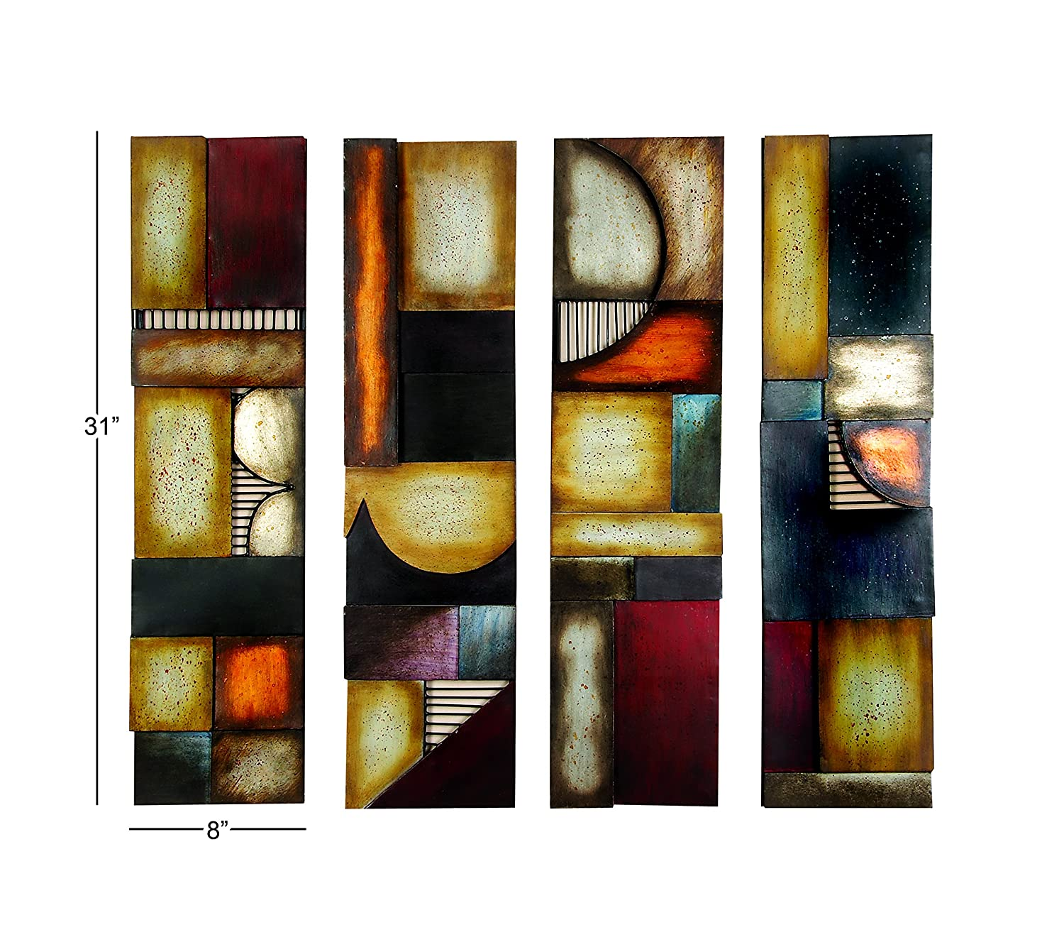 Amazon com benzara 79 99144 metal wall plaque unique wall decor multicolor home kitchen