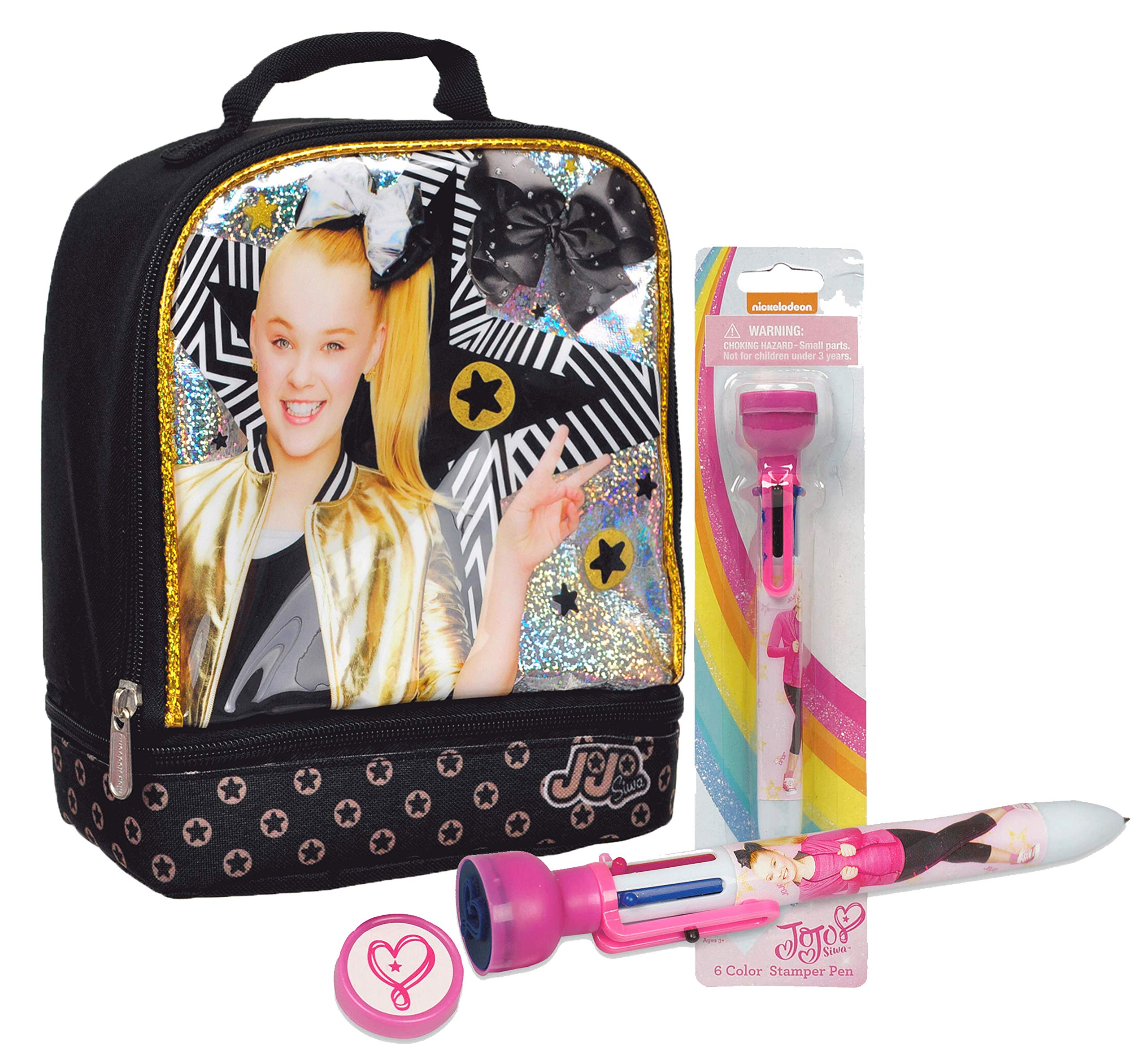 Jojo Siwa Dual Compartment Insulated Lunch Box! Plus JoJo Siwa 6 Color Stamper Pen! by Ruz