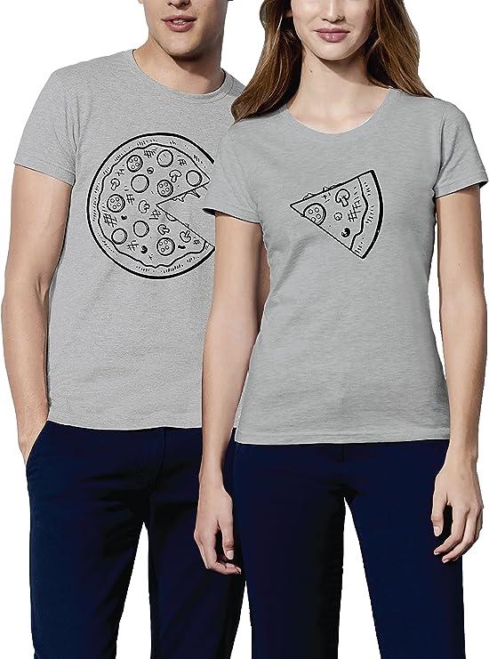 Pack 2 Camisetas para Mujer y Hombre Originales con Diseño Amantes de Pizza