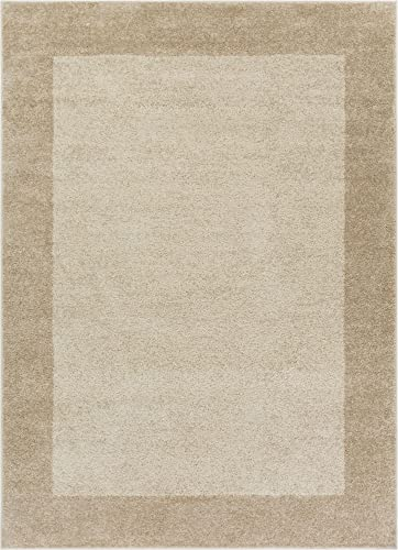 Well Woven Frontier Border Plain 8×11 7'10″ x 10'6″ Area Rug Beige Modern Simple Geometric Pattern Contemporary Thick Soft Plush
