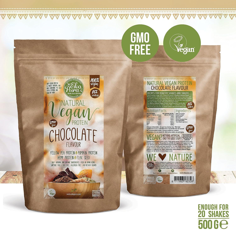 Proteína Vegana Natural - Chocolate - 76% de Proteina - Ingredientes orgánicos (500g): Amazon.es: Salud y cuidado personal