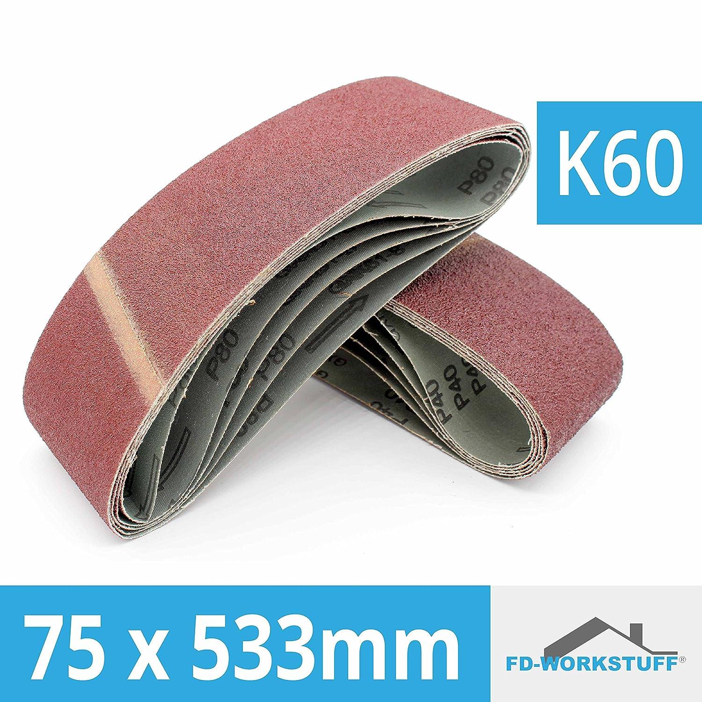 grain 60 Lot de 10 bandes abrasives Pour ponceuse /à bande 75 x 533 mm