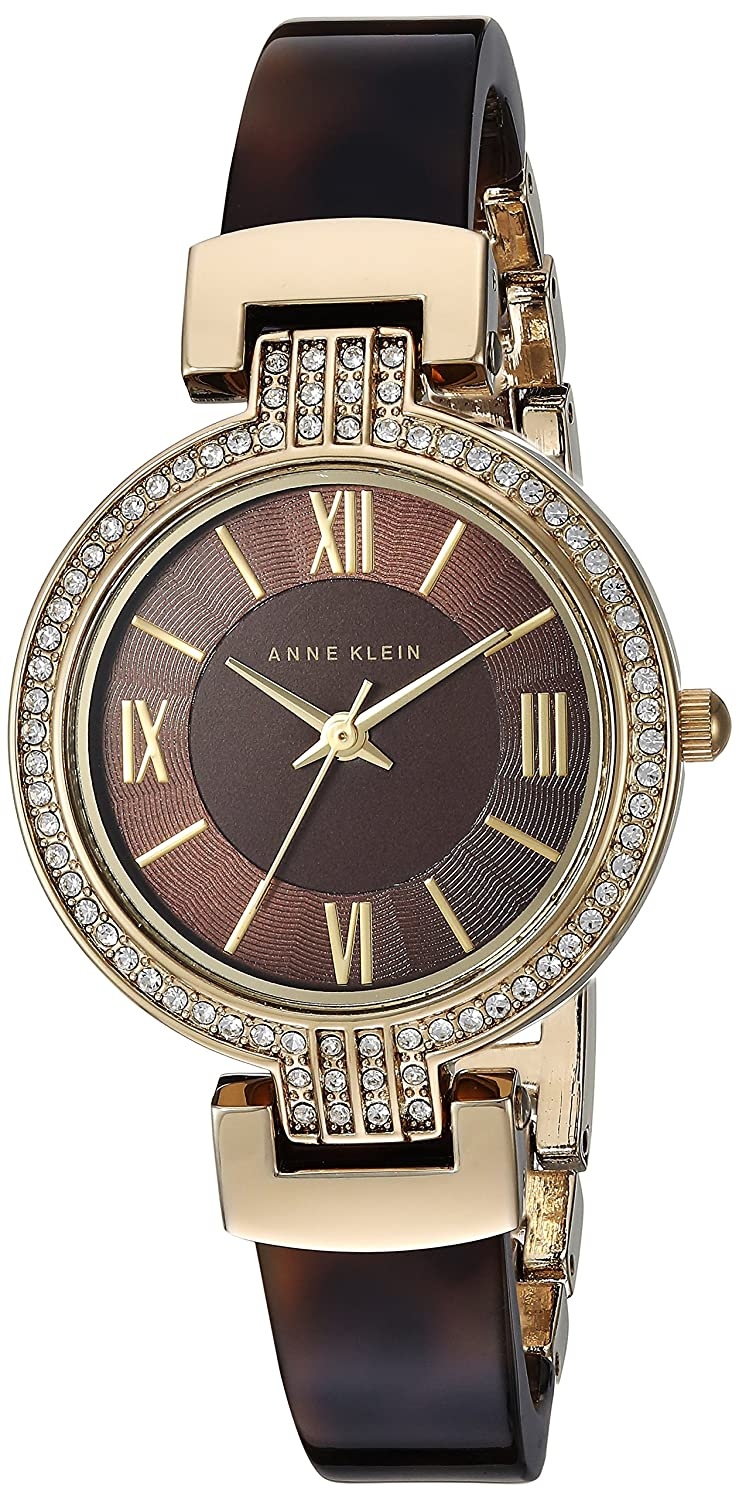 603871372d90 Amazon.com  Anne Klein Women s Swarovski Crystal Accented Gold-Tone and  Tortoise Resin Bangle Watch  Watches