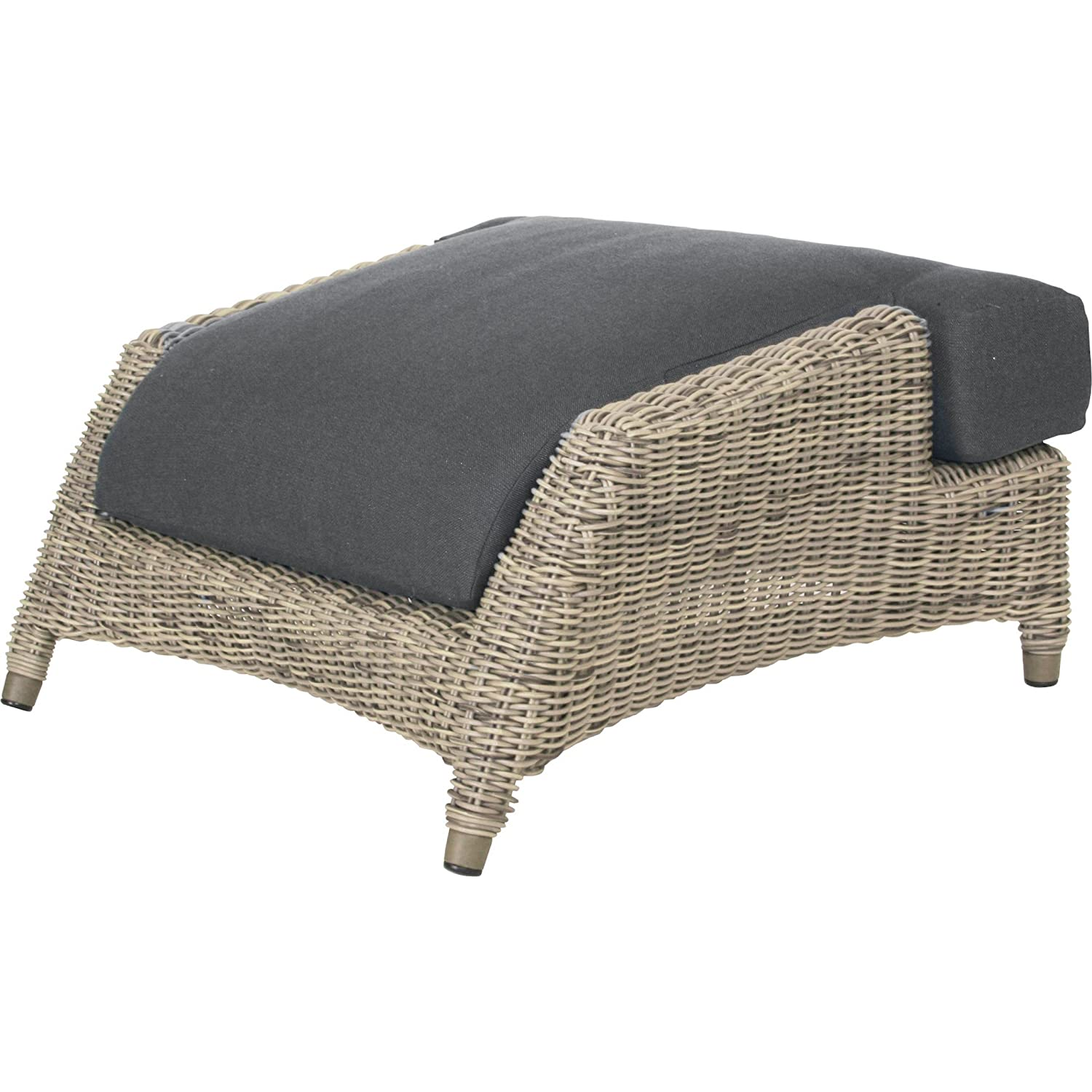 4Seasons Outdoor Valentine Fußhocker Polyrattan pure inkl Kissen Footstool