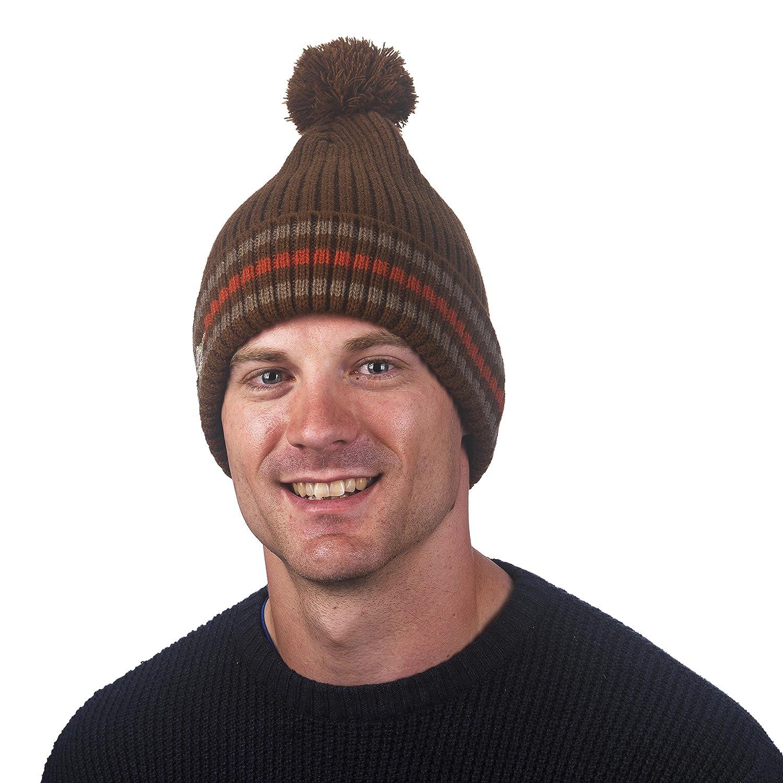 Mens Race Team Striped Slouchy Pom Hat FU-R Headwear
