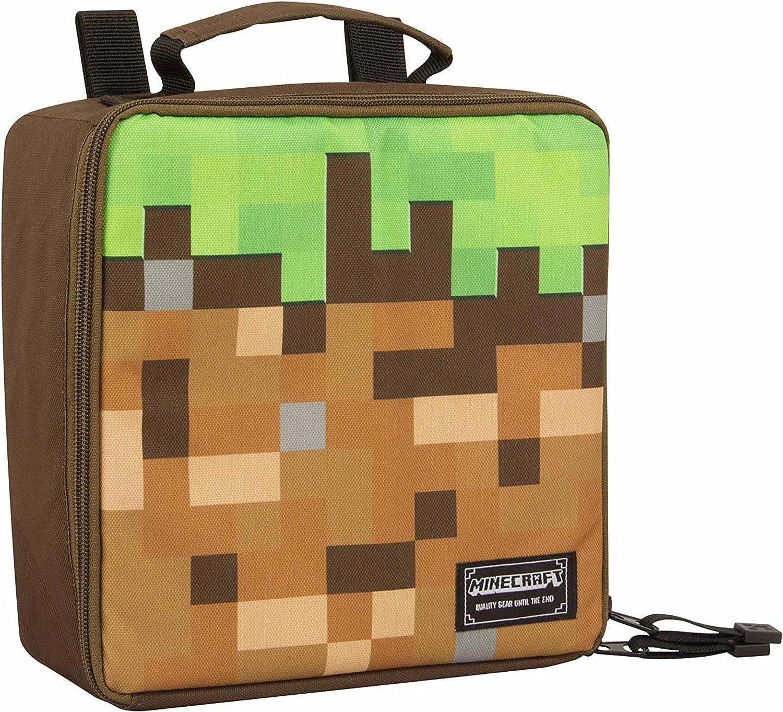"JINX Minecraft Dirt Block Insulated Kids School Lunch Box, Green/Brown,  11.11"" x 11.11"" x 11"""