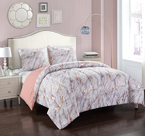 Pop Shop Marble Comforter Set, Full/Queen, Rose Gold by Pop Shop