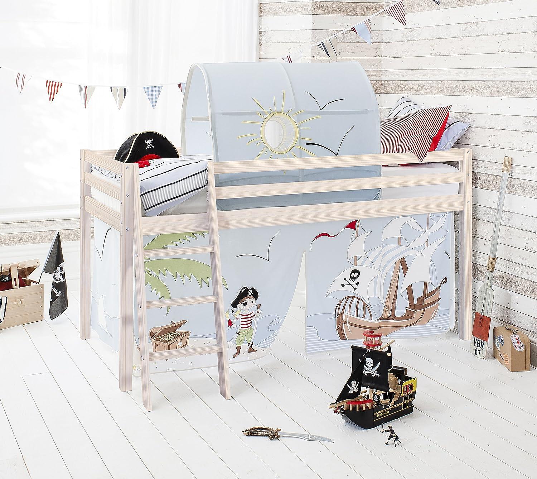 Cabina Midsleeper Cama en Blanco de Madera de Pino con Tienda de campaña y túnel en Pirata Pete diseño y colchón