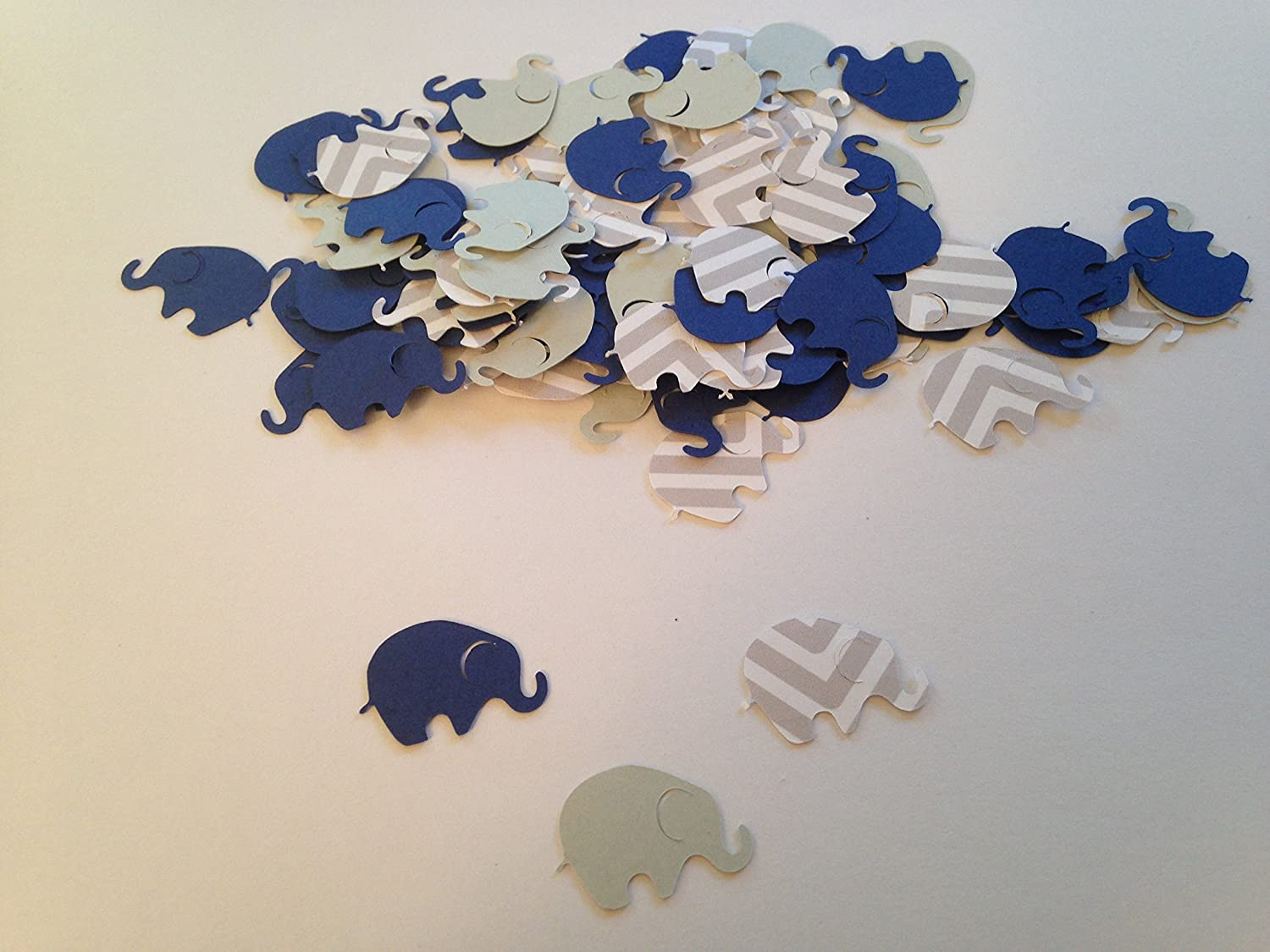 Elephant Baby Shower, Elephant Confetti, Gray Chevron Navy Gray, Sip and See, Elephant Cut Out, Elephant Theme, Elephant Party, 100 pieces