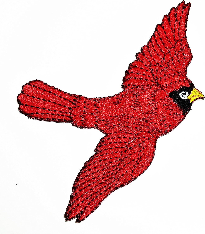 CARDINAL  IRON ON BIRD PATCH APPLIQUE