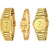 Imperial Club Combo Pack Of 3 Golden Analogue Watches For Men And Women (Wcm-002)