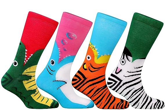 Samson Hosiery ® Animal Calcetines de FUNKY divertido regalo de la novedad delfín tigre cebra cocodrilo Kids - Camiseta para hombre 4 Pack Talla única: ...