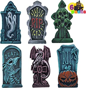 "17"" Halloween Foam Graveyard Tombstone (6 Pack), Headstone with Different Styles and Bonus Metal Stakes for Halloween Yard Decorations"