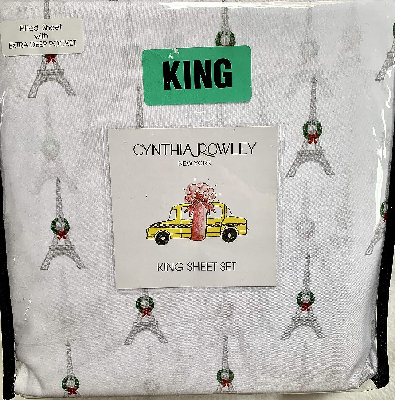 Cynthia Rowley クリスマス リース 飾り付き エッフェル塔 キングサイズ シーツセット - フラットシーツ、ボックスシーツ、枕カバー2枚 B07KVN5V3G